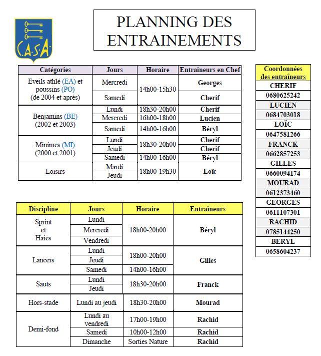 Les horaires d'entrainements du CASA
